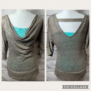 EUC Vanity Cowl Neck Sweater W Sequence Tank Top